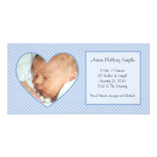 Blue Heart Dots New Baby Photo Card