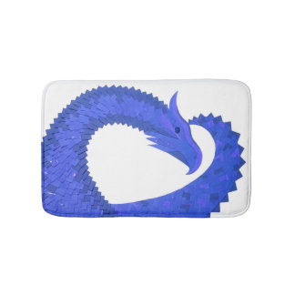 Blue heart dragon on white bath mat