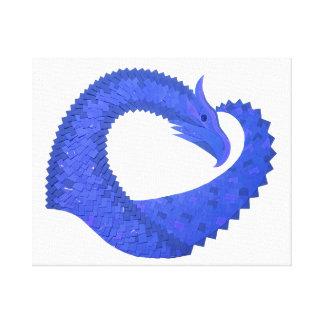 Blue heart dragon on white canvas print