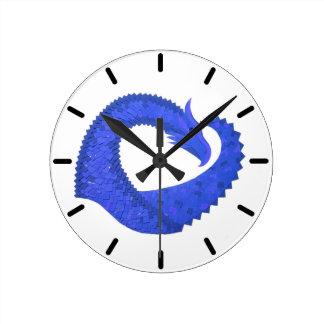 Blue heart dragon on white round clock