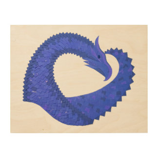 Blue heart dragon on white wood wall art