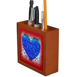 Blue Heart In Red Desk Organiser