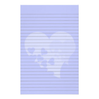 Blue Heart  Lined Stationery Stationery Paper