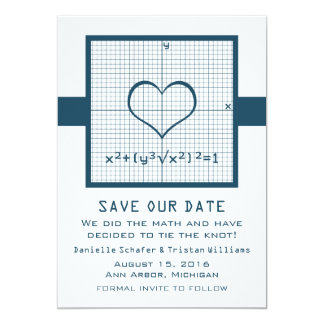 Blue Heart Math Graph Save the Date Invite