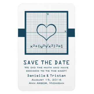 Blue Heart Math Graph Save the Date Magnet