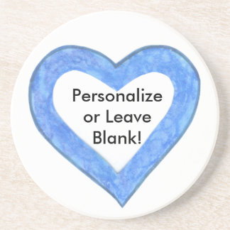 Blue Heart Outline Coaster