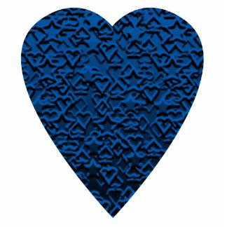 Blue Heart. Patterned Heart Design. Photo Sculpture Badge