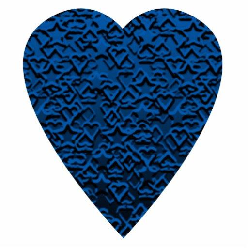 Blue Heart. Patterned Heart Design. Photo Sculpture
