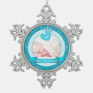 Blue Heart Photo Baby's First Christmas (Xmas) Pewter Snowflake Decoration