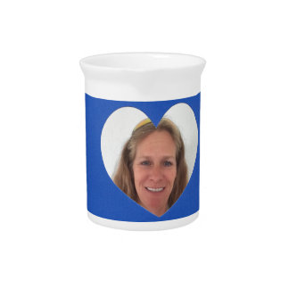 Blue Heart Photo Frame Pitcher