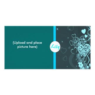 Blue heart photocard customised photo card