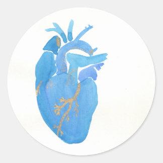 Blue Heart Round Sticker