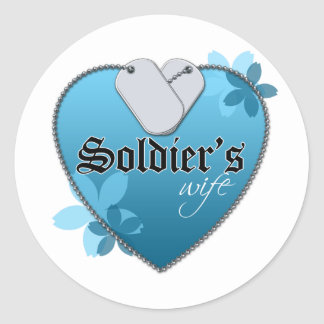 Blue Heart Shaped Dog Tags - Soldier's Wife Round Sticker