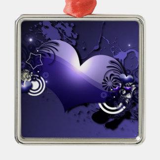 blue heart Silver-Colored square decoration