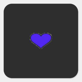BLUE HEART SQUARE STICKER