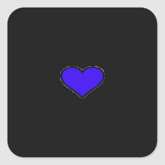 BLUE HEART SQUARE STICKERS