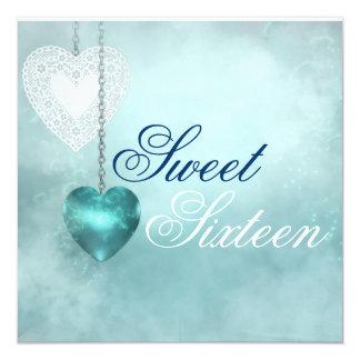 Blue Heart Sweet Sixteen Birthday Invitation