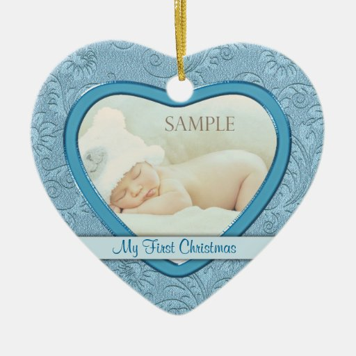 Blue Heart Swirl Baby First Christmas Christmas Tree Ornament