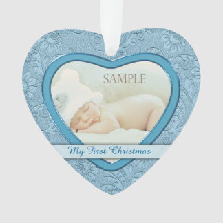 Blue Heart Swirl Baby First Christmas Ornament
