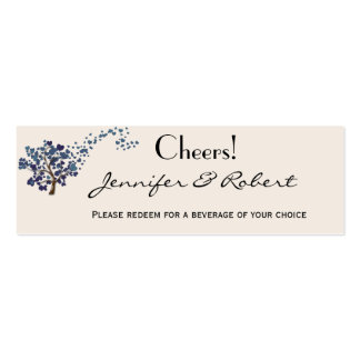 Blue Heart Tree on Ivory Wedding Drink Ticket Business Card Template