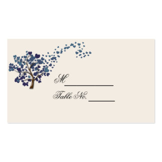 Blue Heart Tree on Ivory Wedding Place Card Business Card Template