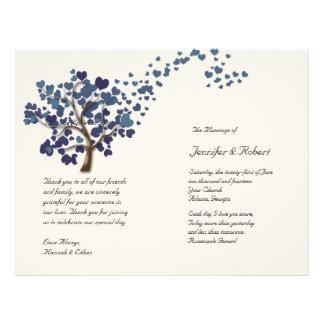Blue Heart Tree on Ivory Wedding Program 21.5 Cm X 28 Cm Flyer