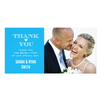 Blue Heart Wedding Photo Thank You Cards Personalized Photo Card