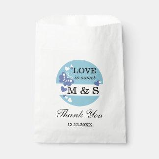 Blue Hearts And Butterflies|Monogram Party Favors Favour Bags