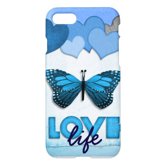 Blue Hearts and Butterfly Love Life iPhone 8/7 Case