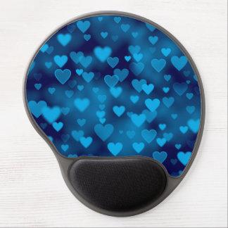 Blue Hearts Bokeh Gel Mousepads