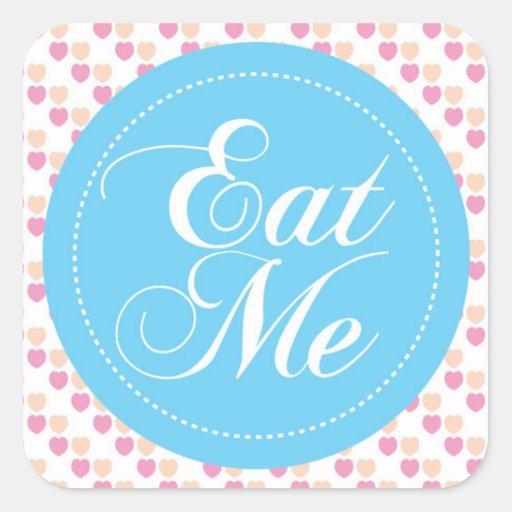 Blue Hearts 'Eat Me' Candy Buffet Sticker