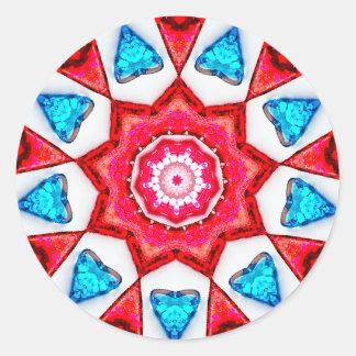 Blue Hearts Fractal Classic Round Sticker
