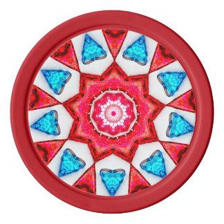 Blue Hearts Fractal Poker Chips