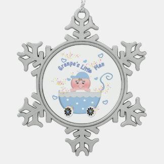 Blue Hearts Granpa's Little Man Baby Ornament