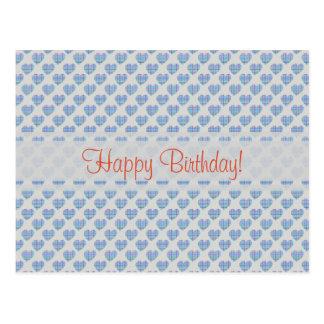Blue hearts Happy Birthday! Postcard