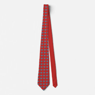 Blue hearts on red tie