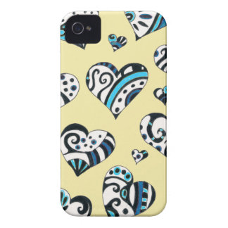 Blue Hearts Scribble Inky Funky Yellow iPhone 4 Cover