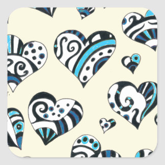 Blue Hearts Scribble Inky Funky Yellow Square Sticker