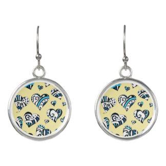 Blue Hearts Scribble  Yellow Earrings