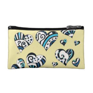 Blue Hearts Scribble  Yellow Makeup Bag