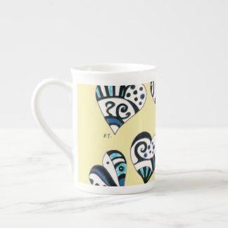 Blue Hearts Scribble  Yellow Tea Cup