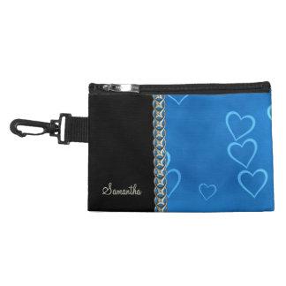 blue hearts silver chain accessory bags