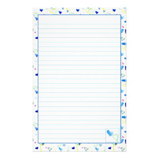 Blue Hearts Watercolor Lined Letter Writing Paper