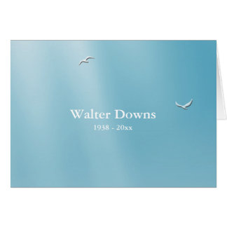 Blue Heaven Folded Bereavement Thank You Notecard Note Card