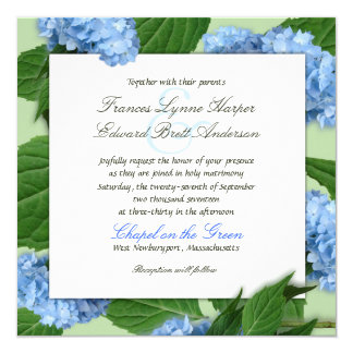 Blue Heaven Square Hydrangea Wedding Invitations