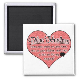 Blue Heeler Paw Prints Dog Humor Square Magnet
