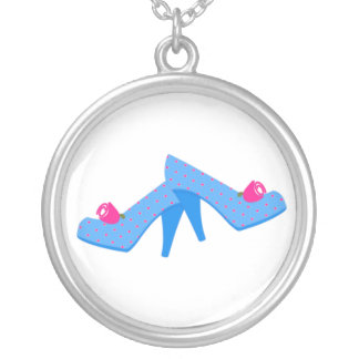 Blue Heels Pink Roses Silver Plated Necklace