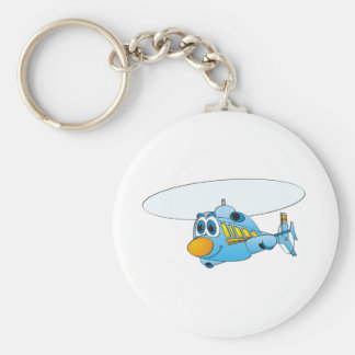 Blue Helicopter Cartoon Basic Round Button Key Ring