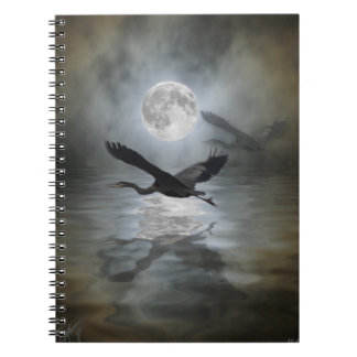 Blue Heron Moon Wild Animal  Notebook