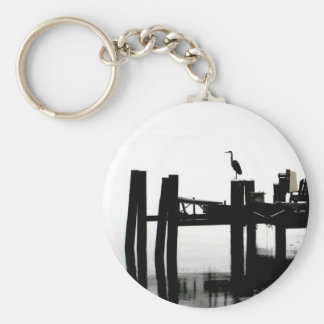 Blue Heron on a Gray Day Basic Round Button Key Ring